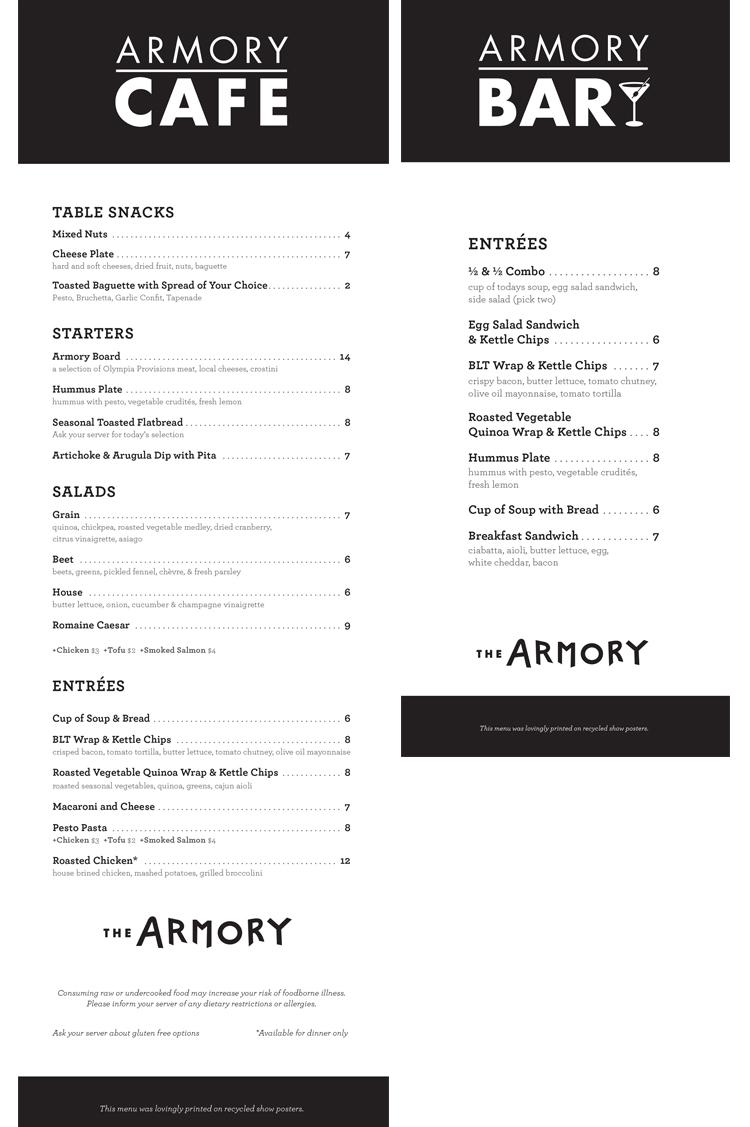 Armory Cafe Menu