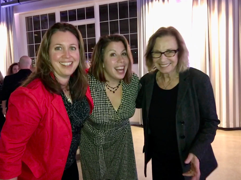 Board Member Sarah J. Crooks and former staff member Jennifer Goldsmith celebrating with Diana Gerding at a donor reception