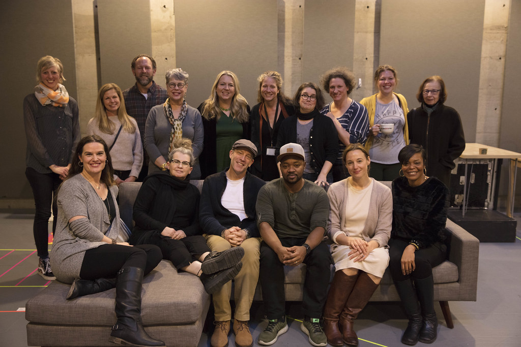 Diana Gerding and Marissa Wolf with Cheryl Strayed and members of the cast and design team for Tiny Beautiful Things